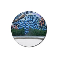 Mural Wall Located Street Georgia Usa Rubber Coaster (round)