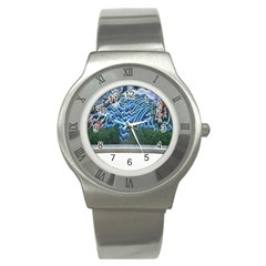Mural Wall Located Street Georgia Usa Stainless Steel Watch