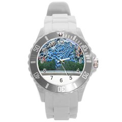 Mural Wall Located Street Georgia Usa Round Plastic Sport Watch (L)
