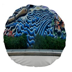 Mural Wall Located Street Georgia Usa Large 18  Premium Round Cushions