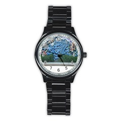 Mural Wall Located Street Georgia Usa Stainless Steel Round Watch