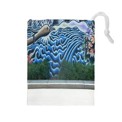 Mural Wall Located Street Georgia Usa Drawstring Pouches (Large)