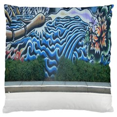 Mural Wall Located Street Georgia Usa Large Flano Cushion Case (Two Sides)