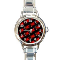 Fractal Background Red And Black Round Italian Charm Watch