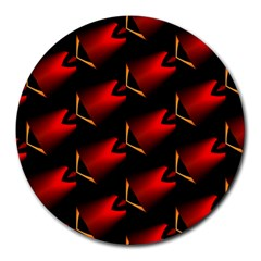 Fractal Background Red And Black Round Mousepads