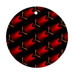 Fractal Background Red And Black Ornament (round)
