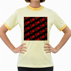 Fractal Background Red And Black Women s Fitted Ringer T Shirts