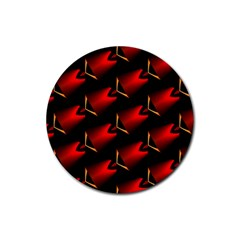 Fractal Background Red And Black Rubber Round Coaster (4 Pack)