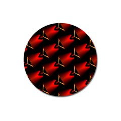 Fractal Background Red And Black Magnet 3  (round)