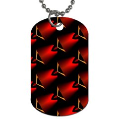 Fractal Background Red And Black Dog Tag (two Sides)