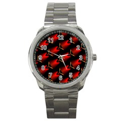 Fractal Background Red And Black Sport Metal Watch