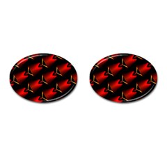 Fractal Background Red And Black Cufflinks (oval)