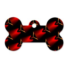 Fractal Background Red And Black Dog Tag Bone (two Sides)