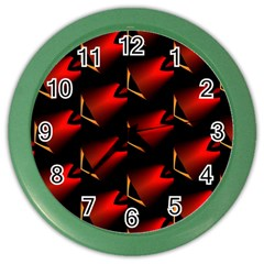 Fractal Background Red And Black Color Wall Clocks