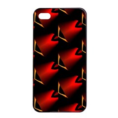 Fractal Background Red And Black Apple Iphone 4/4s Seamless Case (black)
