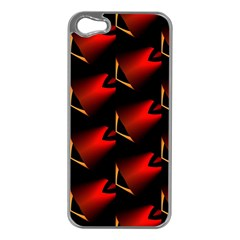 Fractal Background Red And Black Apple iPhone 5 Case (Silver)