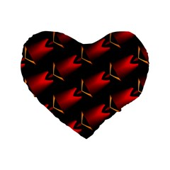Fractal Background Red And Black Standard 16  Premium Heart Shape Cushions