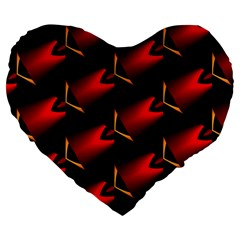 Fractal Background Red And Black Large 19  Premium Heart Shape Cushions