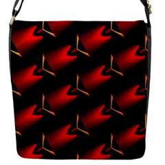 Fractal Background Red And Black Flap Messenger Bag (S)