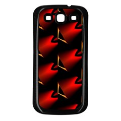 Fractal Background Red And Black Samsung Galaxy S3 Back Case (Black)