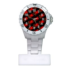 Fractal Background Red And Black Plastic Nurses Watch