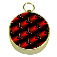 Fractal Background Red And Black Gold Compasses