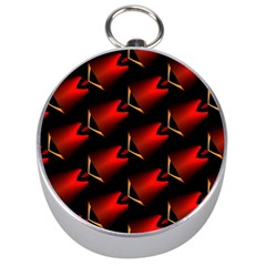 Fractal Background Red And Black Silver Compasses