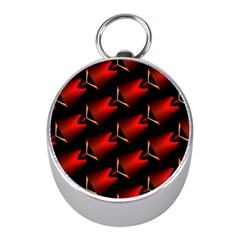 Fractal Background Red And Black Mini Silver Compasses