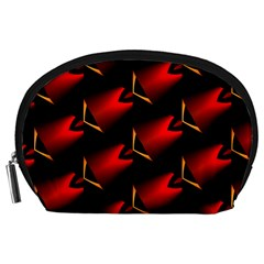 Fractal Background Red And Black Accessory Pouches (Large)