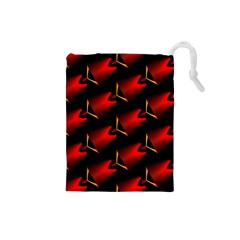 Fractal Background Red And Black Drawstring Pouches (Small)