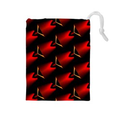 Fractal Background Red And Black Drawstring Pouches (Large)