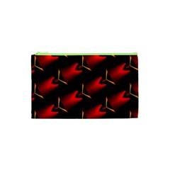 Fractal Background Red And Black Cosmetic Bag (XS)