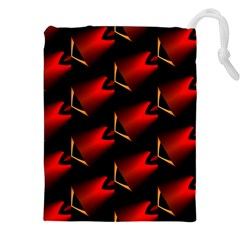 Fractal Background Red And Black Drawstring Pouches (XXL)