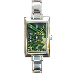 A Feathery Sort Of Green Image Shades Of Green And Cream Fractal Rectangle Italian Charm Watch
