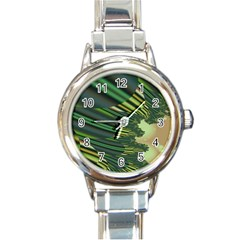 A Feathery Sort Of Green Image Shades Of Green And Cream Fractal Round Italian Charm Watch