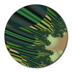 A Feathery Sort Of Green Image Shades Of Green And Cream Fractal Round Mousepads
