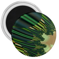 A Feathery Sort Of Green Image Shades Of Green And Cream Fractal 3  Magnets