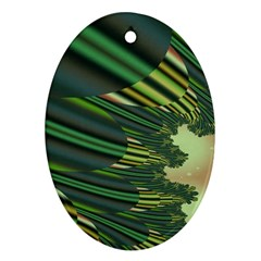 A Feathery Sort Of Green Image Shades Of Green And Cream Fractal Ornament (oval)