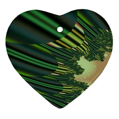 A Feathery Sort Of Green Image Shades Of Green And Cream Fractal Ornament (heart)
