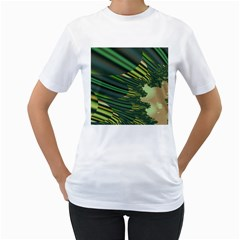 A Feathery Sort Of Green Image Shades Of Green And Cream Fractal Women s T Shirt (white) (two Sided)