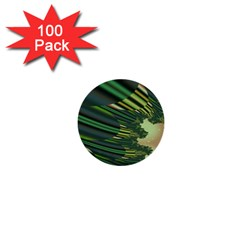 A Feathery Sort Of Green Image Shades Of Green And Cream Fractal 1  Mini Buttons (100 Pack)