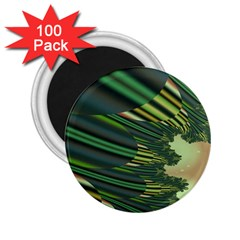 A Feathery Sort Of Green Image Shades Of Green And Cream Fractal 2.25  Magnets (100 pack)