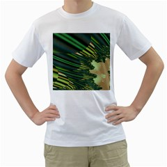 A Feathery Sort Of Green Image Shades Of Green And Cream Fractal Men s T Shirt (white) (two Sided)