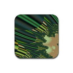 A Feathery Sort Of Green Image Shades Of Green And Cream Fractal Rubber Coaster (Square)