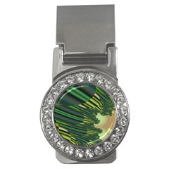 A Feathery Sort Of Green Image Shades Of Green And Cream Fractal Money Clips (cz)