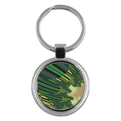 A Feathery Sort Of Green Image Shades Of Green And Cream Fractal Key Chains (round)