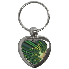 A Feathery Sort Of Green Image Shades Of Green And Cream Fractal Key Chains (heart)