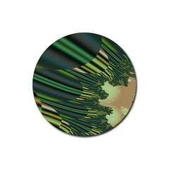 A Feathery Sort Of Green Image Shades Of Green And Cream Fractal Rubber Round Coaster (4 Pack)