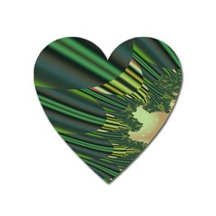 A Feathery Sort Of Green Image Shades Of Green And Cream Fractal Heart Magnet