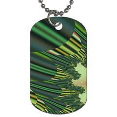 A Feathery Sort Of Green Image Shades Of Green And Cream Fractal Dog Tag (One Side)